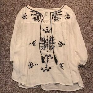 Forever 21 embroidered tassel peasant top